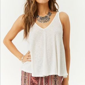 Ribbed Knit Tank Top - White
